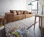 XXL-Couch Marbeya Braun 285x115 cm Antik Optik Hocker und Kissen [9843]