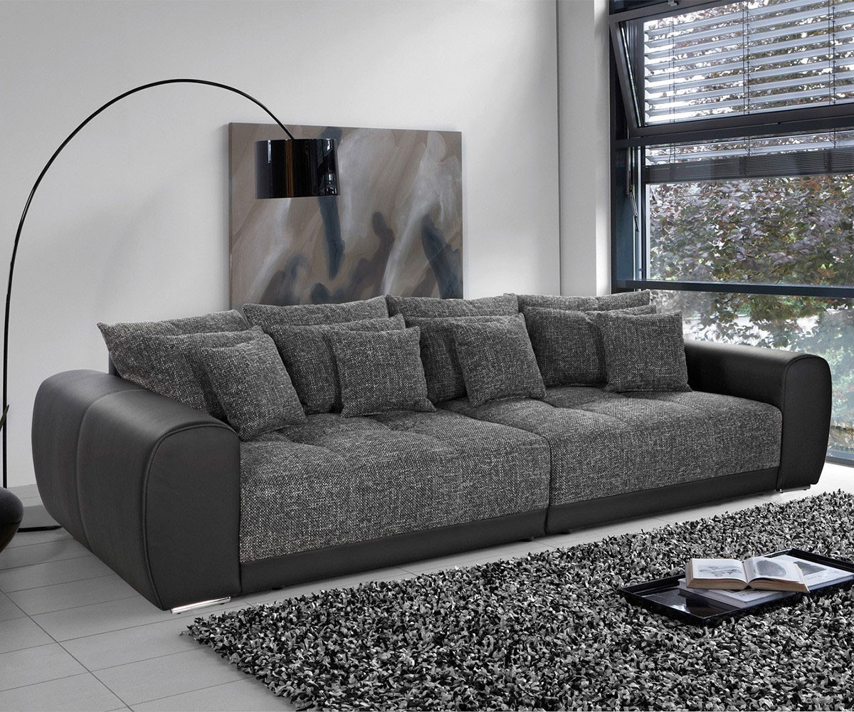 big sofa valeska 310x135 schwarz strukturstoff 12 kissen. Black Bedroom Furniture Sets. Home Design Ideas