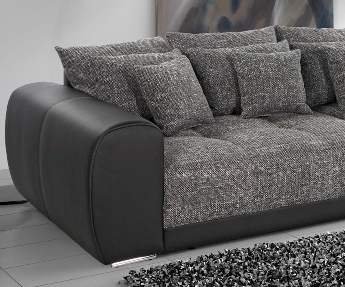 big sofa valeska 310x135 schwarz strukturstoff 12 kissen m bel sofas big sofas. Black Bedroom Furniture Sets. Home Design Ideas