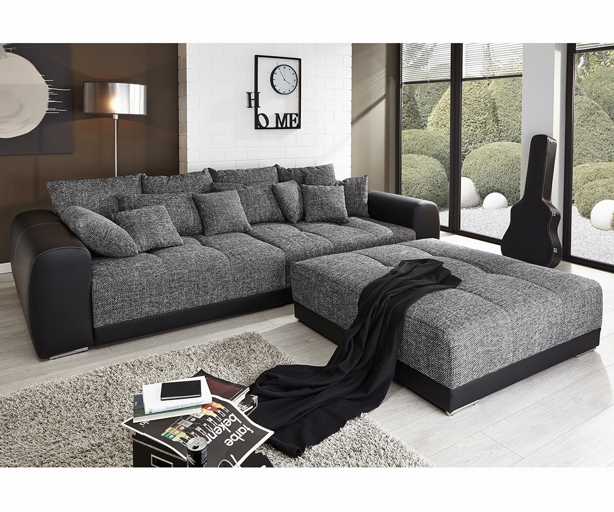 polsterecke valeska schwarz grau 310x135 inklusive hocker big sofa. Black Bedroom Furniture Sets. Home Design Ideas