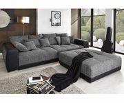 Polsterecke Valeska Schwarz Grau 310x135 inklusive Hocker Big-Sofa [10024]