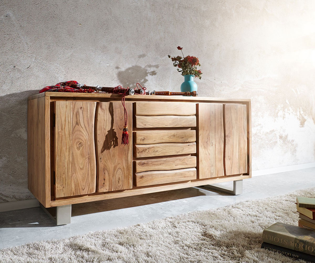 kommode live edge akazie natur 147 cm 2 t ren 3 sch be baumkante sideboard. Black Bedroom Furniture Sets. Home Design Ideas