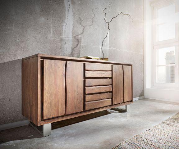 Dressoir Live-Edge 147 cm acacia bruin 3 laden 2 deuren 1