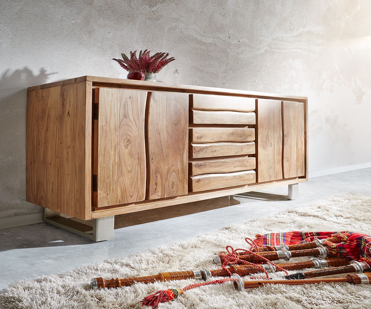 sideboard live edge 172 cm akazie natur 3 sch be 4 t ren. Black Bedroom Furniture Sets. Home Design Ideas