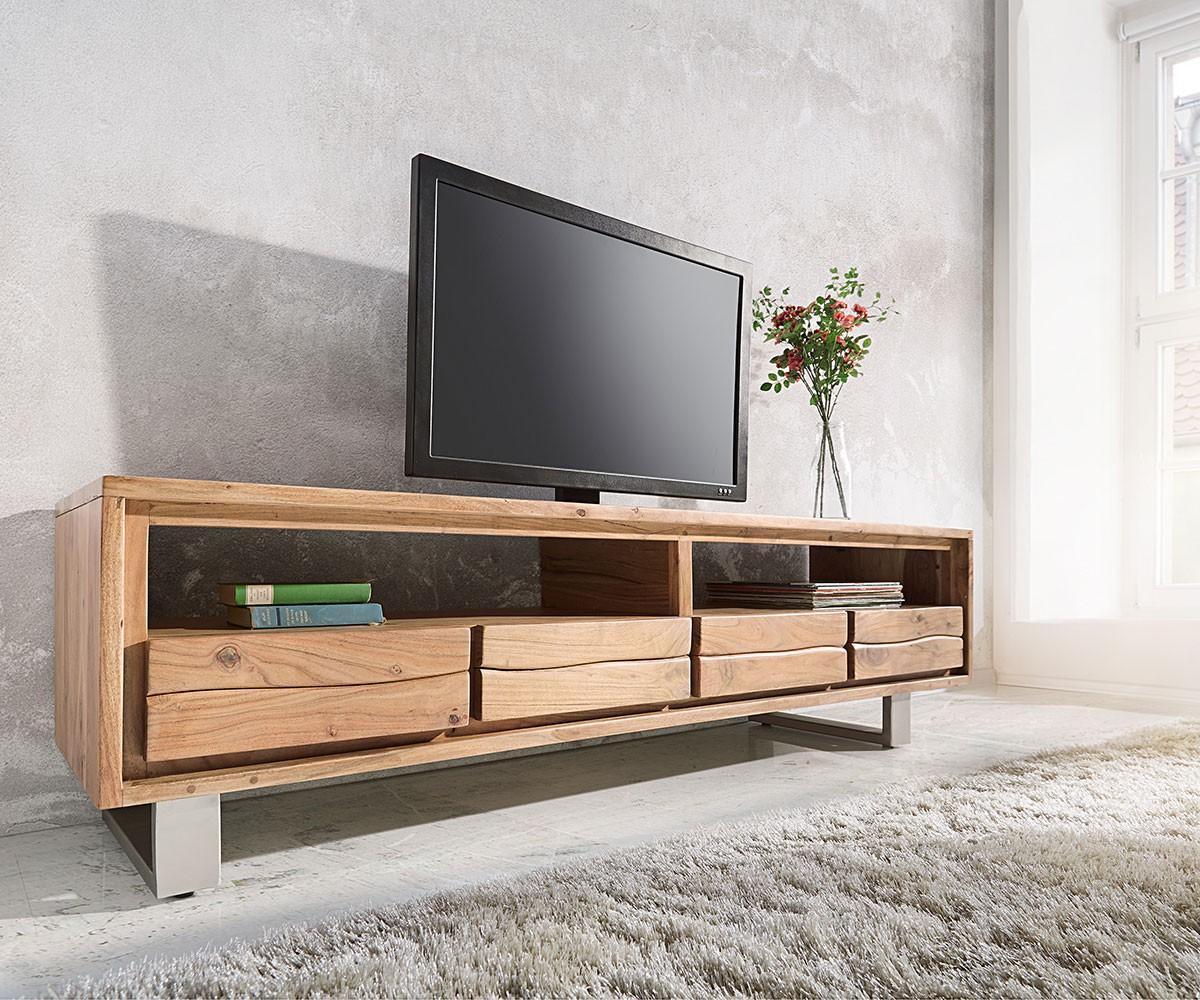 fernsehtisch live edge akazie natur 190 cm 2 f cher 4 sch be baumkante lowboard. Black Bedroom Furniture Sets. Home Design Ideas