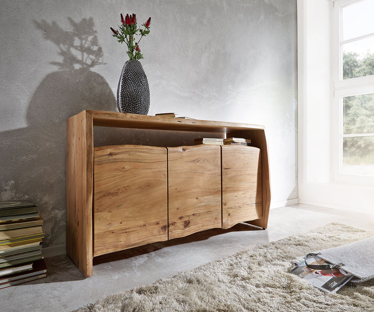 kommode live edge akazie natur 145 cm 3 t ren 1 fach sideboard. Black Bedroom Furniture Sets. Home Design Ideas