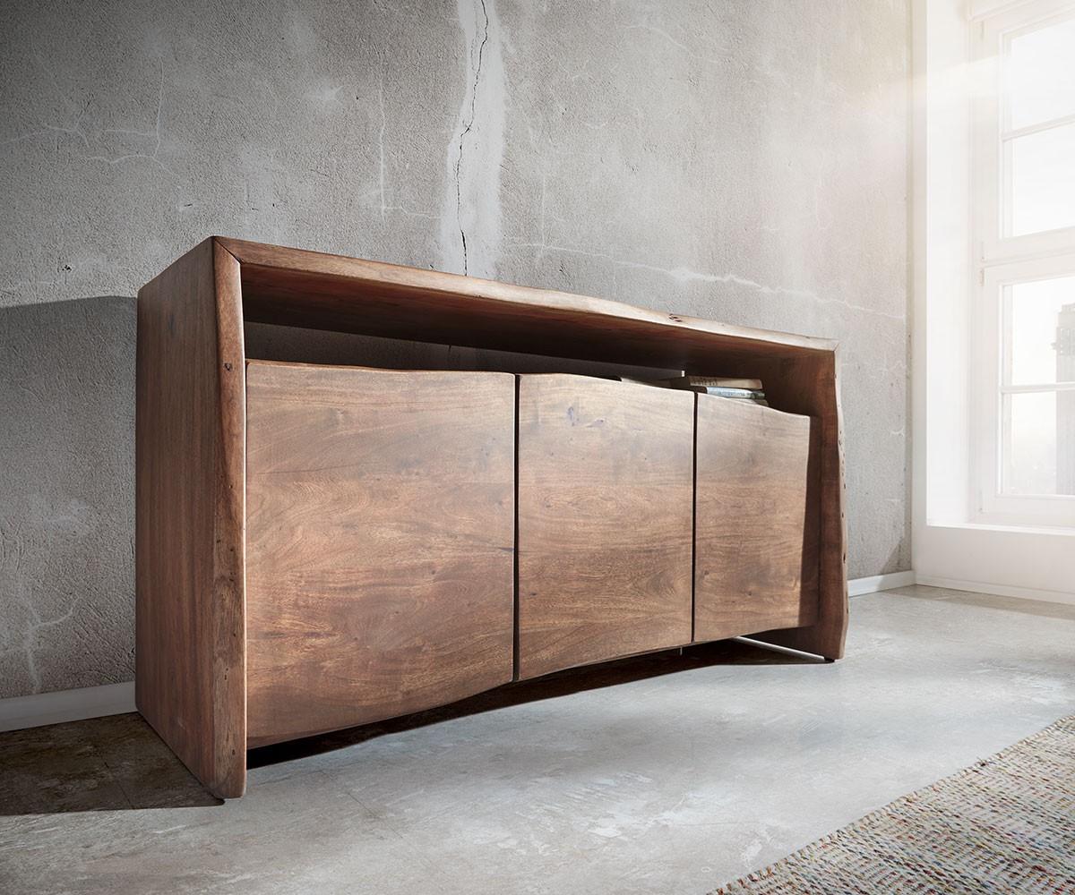 Sideboard Live-Edge 145 cm Akazie Braun 3 Türen Baumkante