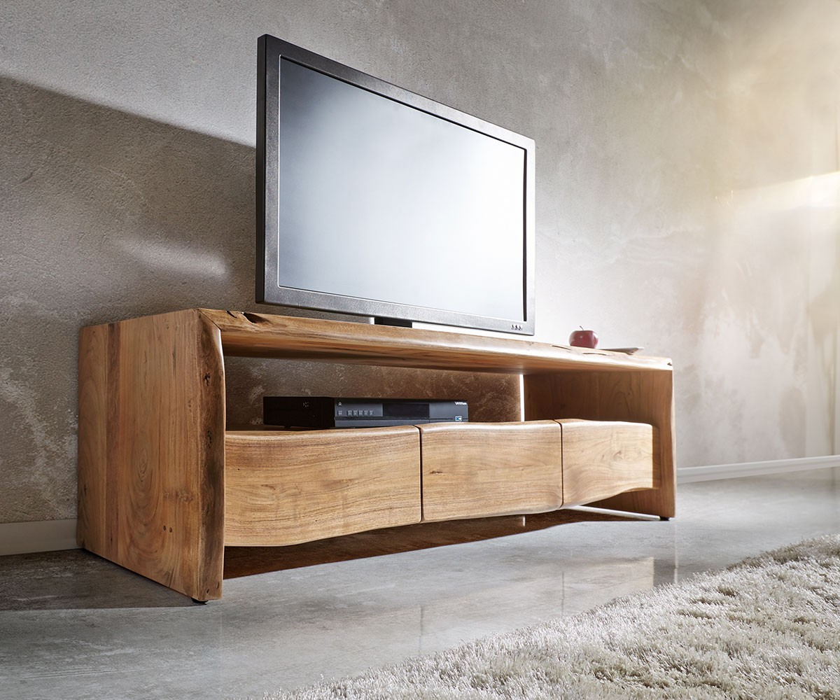 fernsehtisch live edge akazie natur 145 cm ablagefach offen baumkante lowboard. Black Bedroom Furniture Sets. Home Design Ideas