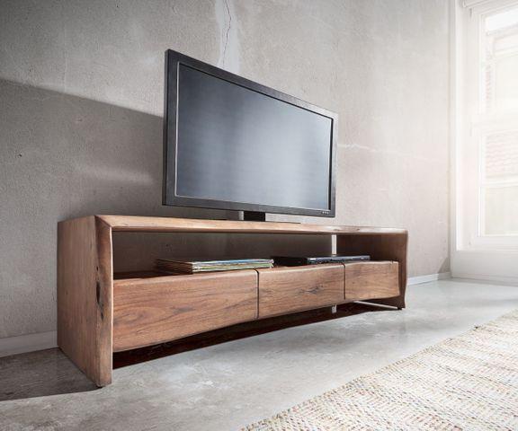 Tv-meubel Live-Edge 145 cm acacia bruin 1 vak 3 laden 1