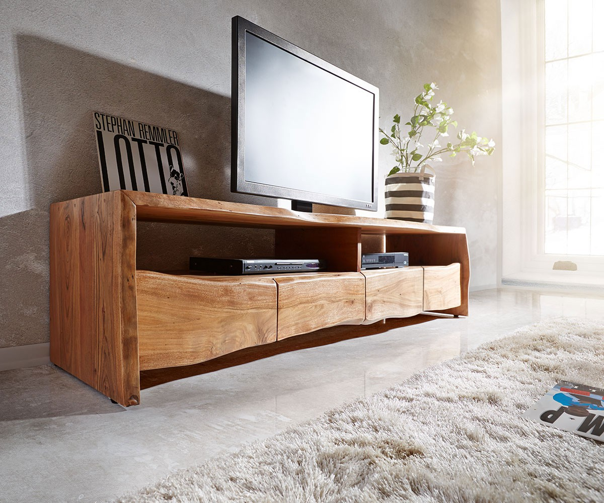 fernsehtisch live edge akazie natur 190 cm 4 schubk sten. Black Bedroom Furniture Sets. Home Design Ideas