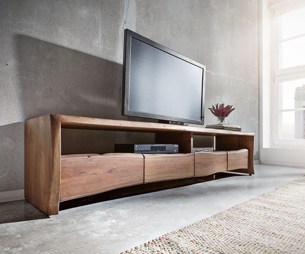 TV-meubel Live-Edge 190 cm acacia bruin 4 laden 2 vakken