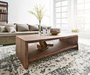 Wohnzimmertisch Live-Edge Akazie Braun 130x60 cm Baumkante Baumtisch [10119]