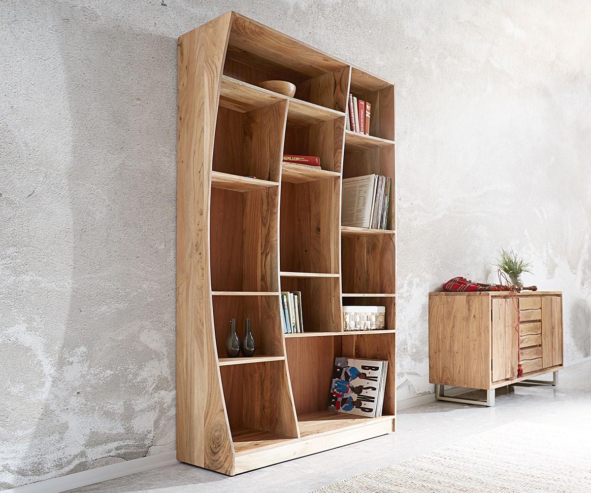 Boekenkast Live-Edge boekenkast 121 cm natuur acacia rechts
