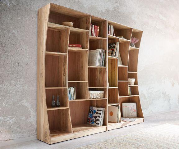Boekenkast Live-Edge boekenkast 121 cm natuur acacia rechts 3