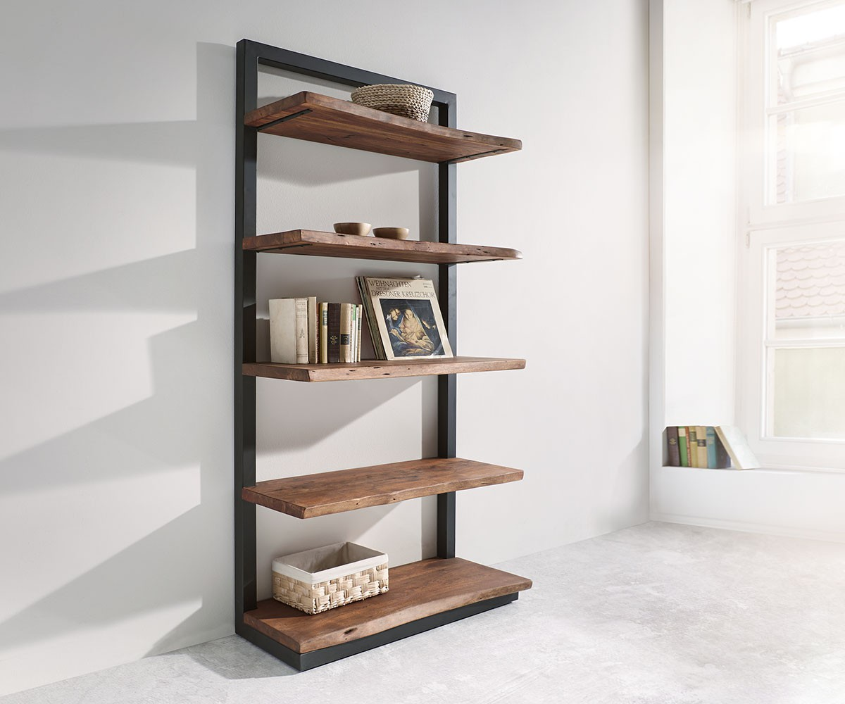 Regal Live Edge Akazie Braun 92 Cm Mit Metall 5 Boden Standregal