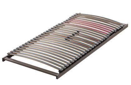 Lattenrost Aviono S, 8 cm hoch, metallfrei, 28 Buche-Federleisten, Schulterkomfortzone und einstellbarer Beckenbereich