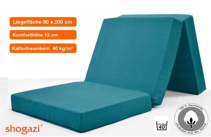 Komfort Klappmatratze SHOGAZI TRAVEL 90 x 200 x 12 cm | türkis | auch für Erwachsene | Reisematratze | Gästematratze | Faltmatratze