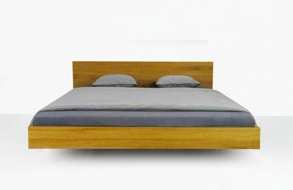 Massivholzbett CLASSIFY SIMPLE - klares Designerbett, Wildeiche massiv