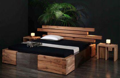 Massivholzbett Brunhilde - rustikales Designerbett