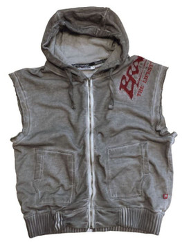 Brachial Herren Zip-Hoody Rough in Grau-Rot