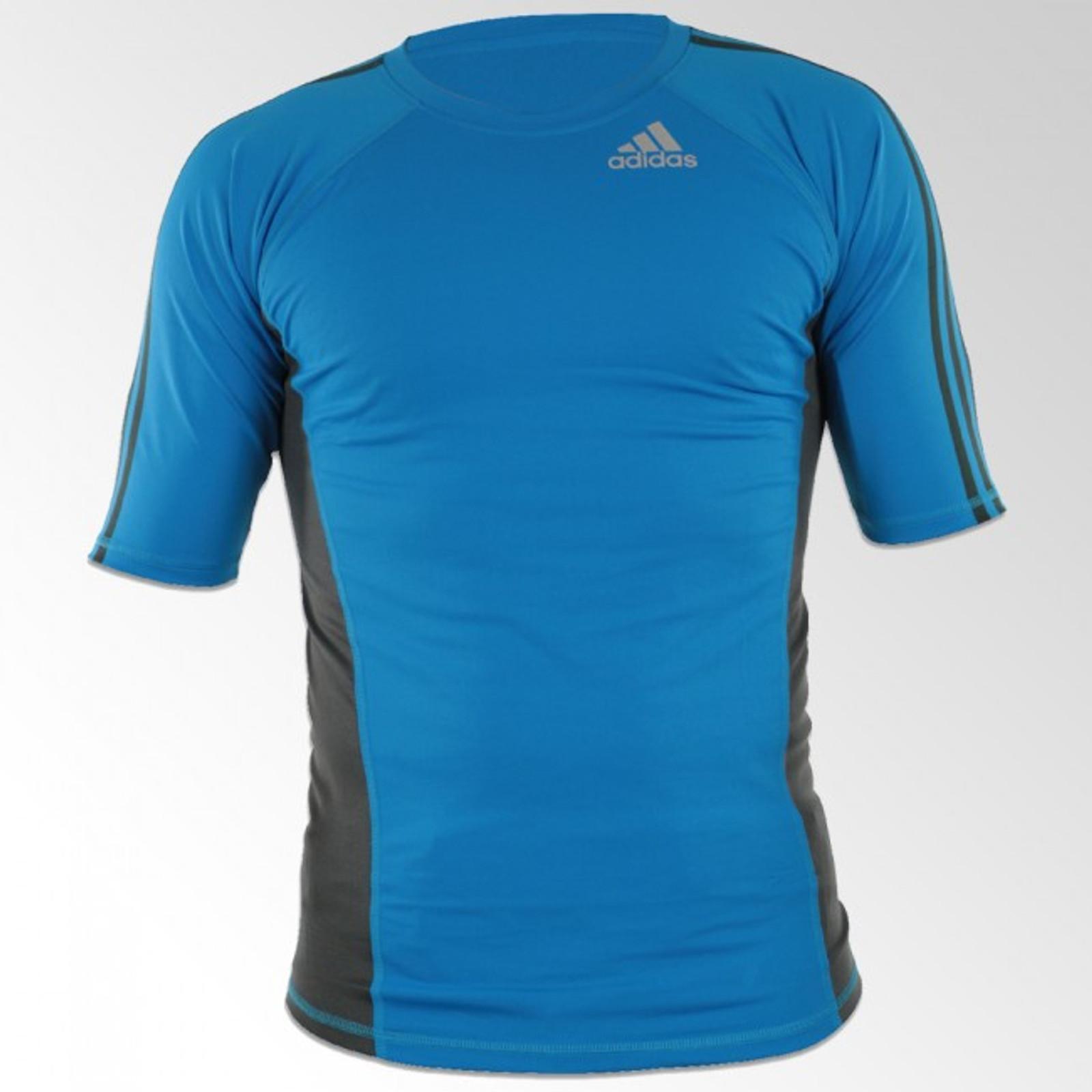 adidas Herren Kurzarm Rashguard Transition in Blau-Grau