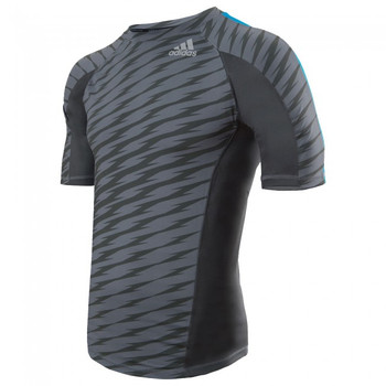 adidas Herren Kurzarm Rashguard Ultimate Athlete in Grau-Blau