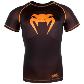Venum Kompression Kurzarm T-Shirt Contender 3.0 in Schwarz-Neon Orange