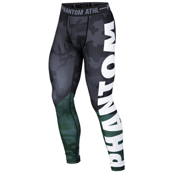 Phantom Athletics Herren Compression Leggings Domination in Camo-Grün