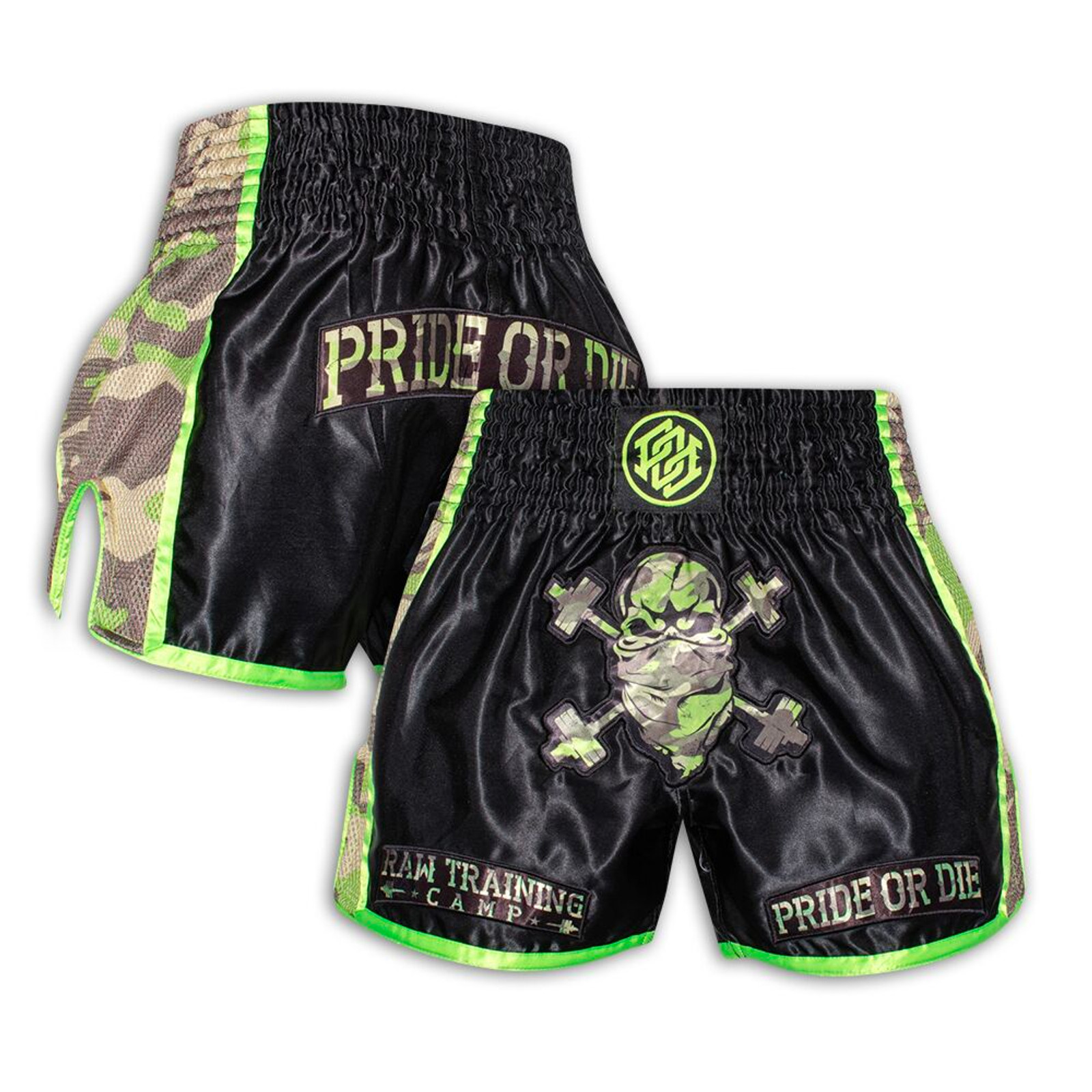 Pride Or Die Muay Thai Shorts RAW TRAINING CAMP Jungle Camo
