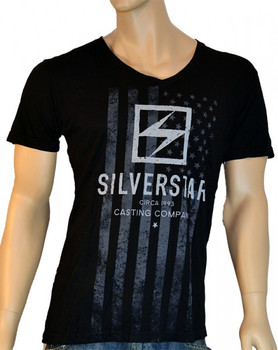 Silver Star Herren V-Neck T-Shirt No Brakes in Schwarz