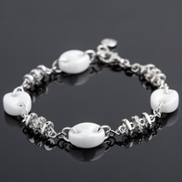 Yves Camani Armband Keramik weiss/Silber/Steine