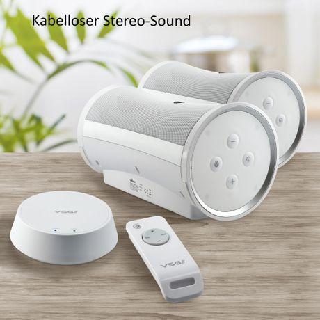 Design Funk-Lautsprecher Set mit Fernbedienung