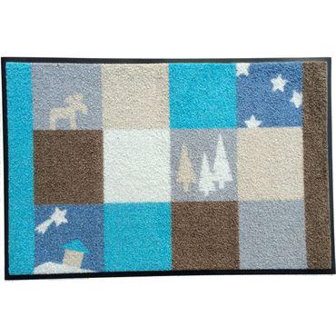 Waschbare Fußmatte - Weihnachten -X mas blau 50x75 cm Wash+Dry Fußabstreifer
