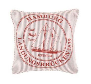 Kissenhülle - Kissenbezug Ocean Hamburg - rot weiss - ca 45x45 cm - ohne Füllung