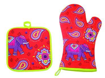 Topflappen und Ofenhandschuh Set - Kashmir Elefant rot Paisley