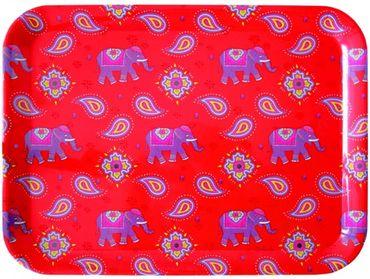 Serviertablett Elefant Kashmir Tablett rot ca 33 x 43 cm