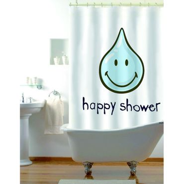 Duschvorhang Smiley - Happy Shower - blau weiss - 180 x 180 cm