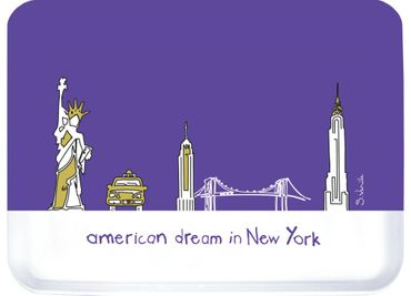 Serviertablett Tablett American Dream in New York - lila - ca 33 x 43 cm