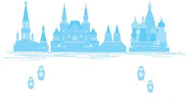Wandtattoo Moskau Moscow blau - Wanddekoration XXL