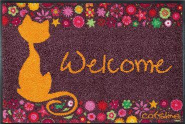 Waschbare Fußmatte - Catsline Flowers - Katze 50x75 cm Wash+Dry