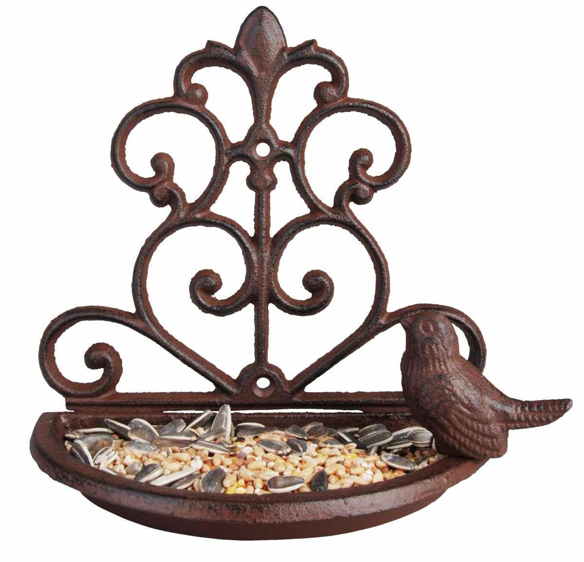 Vogeltränke - Futterschale mit Vogel Gusseisen - Wandfutterschale ...