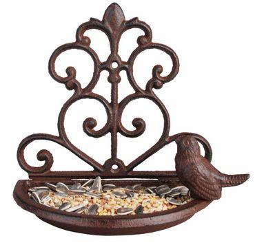 Vogeltränke - Futterschale mit Vogel Gusseisen - Wandfutterschale