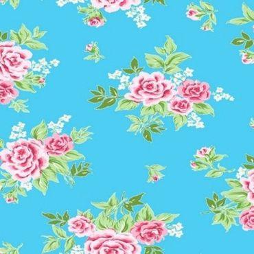 Klebefolie - Möbelfolie - Rosy blau - Rosen - 0,90 m x 15 m Selbstklebefolie
