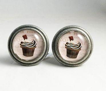 Möbelknopf - Möbelknauf Cupcakes im Antik Style - Möbelgriffe 2 Stück