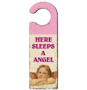 Türschild Türhänger - HERE SLEEPS A ANGEL - Shabby