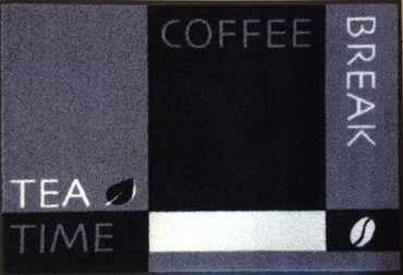 Waschbare Fußmatte - Tea Time - Coffee Break 60 x 85 cm Fußabstreifer Wash+Dry