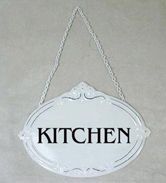 Türschild Kitchen - Küche - Schild im Antik Look - Metallschild Shabby