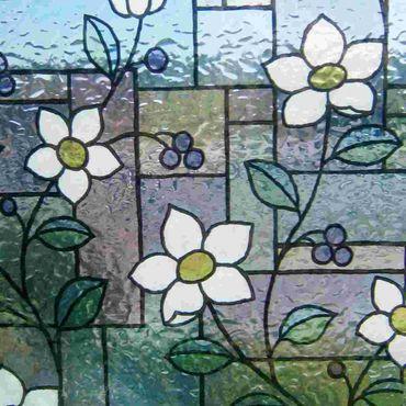 LINEA Fix statische Fensterfolie GLS 4657 Blumen Höhe 92 cm hoch - Meterware