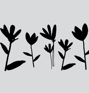 Statische Fensterfolie Milchglasfolie Blumen schwarz Meterware 45 cm hoch