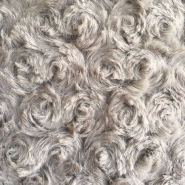Kuschelkissen Faux Fur Grau Rosetten - Kissen ca 45x45 cm Zierkissen